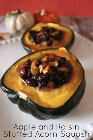 Acorn squash stuffed with apples and raisins