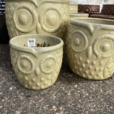 15 Inch Owl Planter Crackle Lily Yellow White